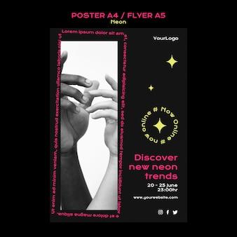 Шаблон неонового вертикального плаката для новых онлайн-тенденций