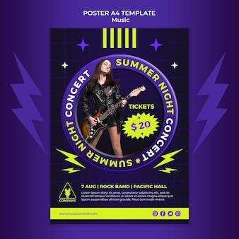 Неоновый вертикальный шаблон плаката для летнего ночного концерта