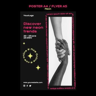 Modello di poster verticale al neon per le nuove tendenze online