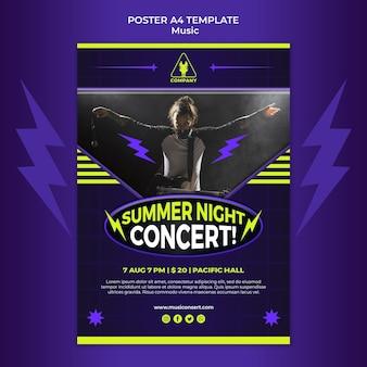 Modello di poster verticale al neon per concerto notturno d'estate