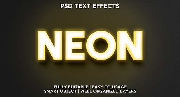 Neon yellows text effect