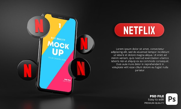 Netflix icons around smartphone app mockup 3d