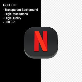 Netflix logo 3d icon rendering isolated