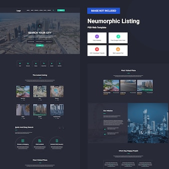 Neumorphic directory listing template concept