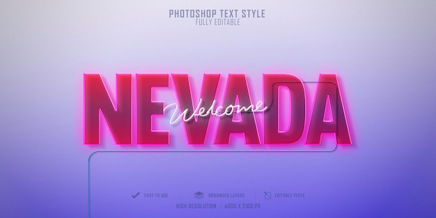 Nevada 3d text style effect template design