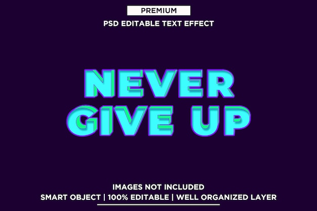 Never give up - 3d text style font effect template psd