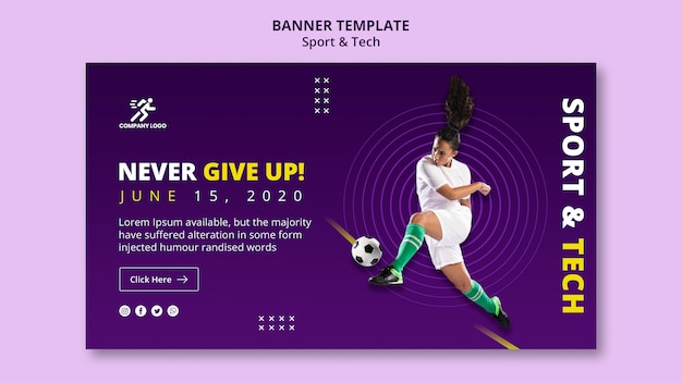 Never give up football girl banner template