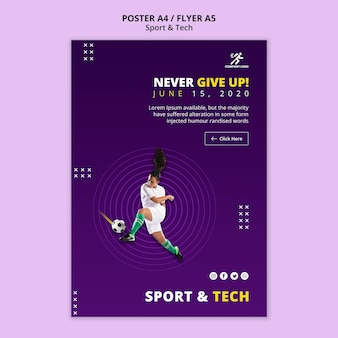 Never give up football girl poster template
