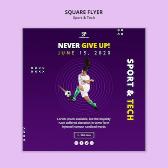 Never give up football girl square flyer template