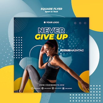 Never give up girl square flyer template