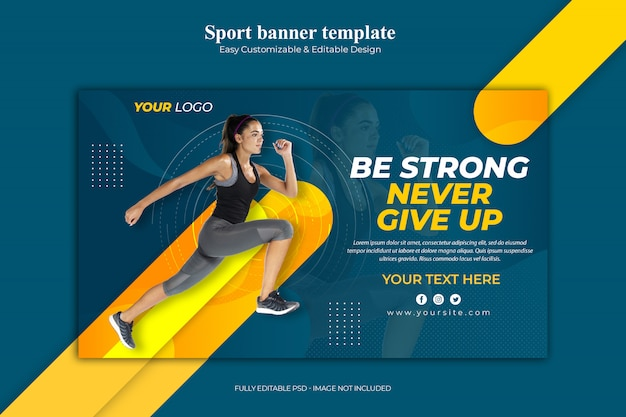 Never give up sport banner template