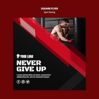 Never give up square flyer print template