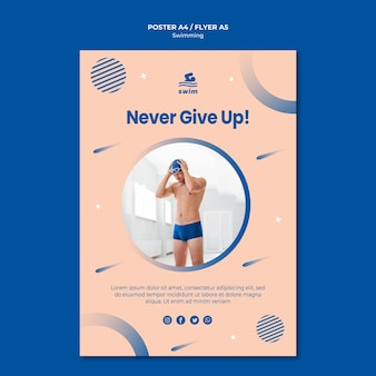 Never give up swimming poster template