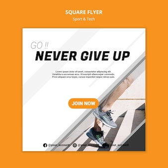 Never give up workout square flyer