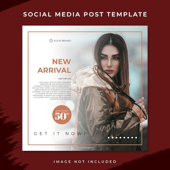 New arrival brown fashion sale social media post template