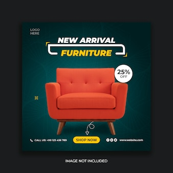 New arrival furniture sale instagram social media banner template