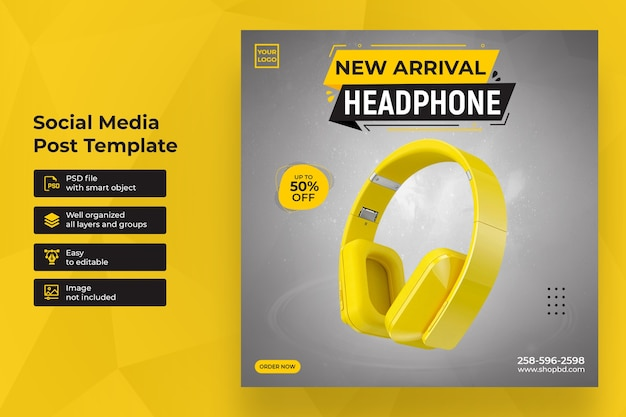 New arrival headphone sale social media post template