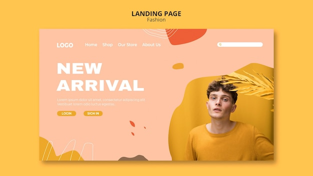 New arrival male fashion landing page template