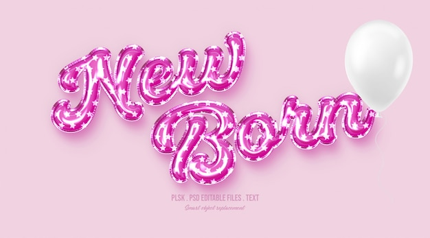 New born 3d text style effect
