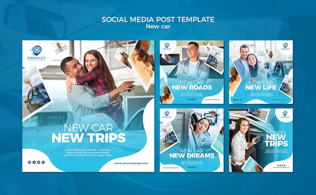 New car concept social media post template
