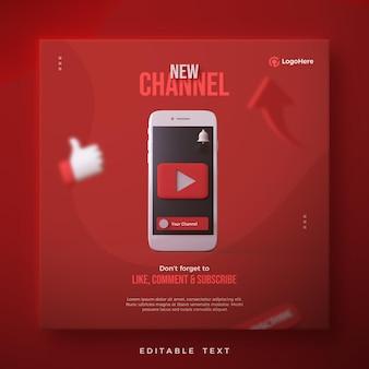 Youtube 로고가있는 새 채널 게시물 3d 렌더링