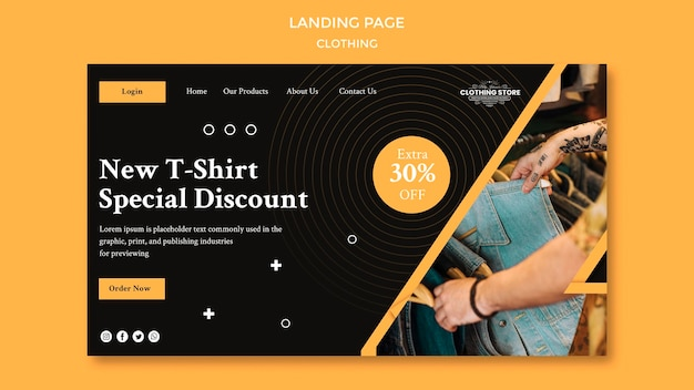 Newclothing store landing page template