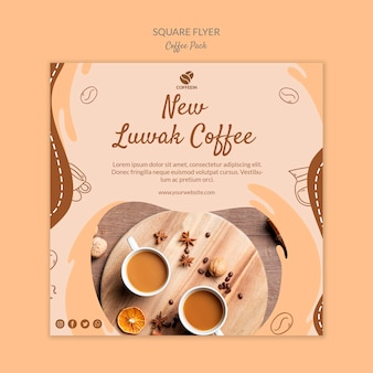 New coffee square flyer print template