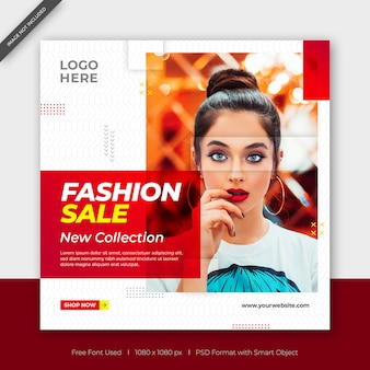 New collection fashion sale facebook or instagram post square banner