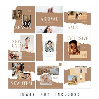 新しいコレクションファッションセールinstagramパズルフィードプレミアムpsd