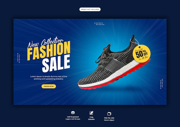 New collection fashion sale web banner template