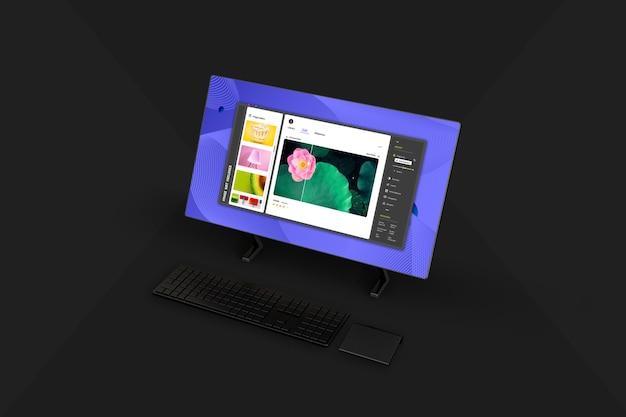 새로운 데스크탑 컴퓨터 화면 목업 디자인