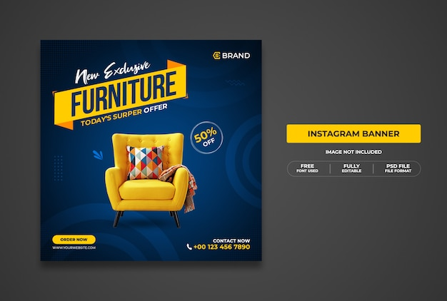 New exclusive furniture sale promotional web banner or social media banner template