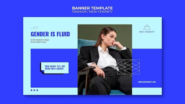 Nuovo banner orizzontale di moda femminile