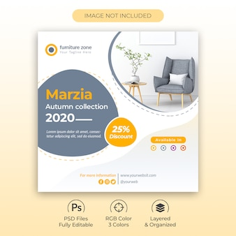 New furniture collection promotional flyer or social media post template premium psd