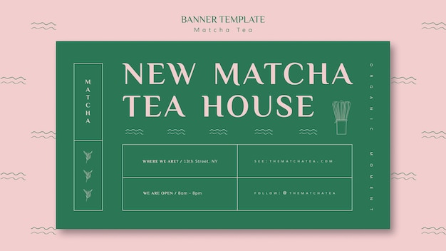 New matcha tea house banner template