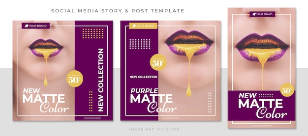 New matte color social media post template