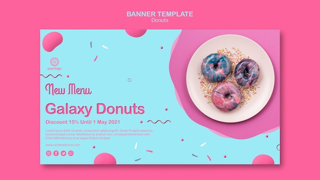 New in menu galaxy doughnuts banner template