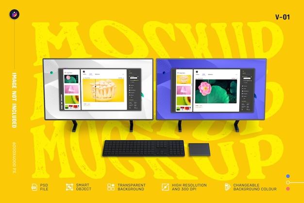 新しいモダンな3dデュアルスクリーンデスクトップコンピューターのモックアップ