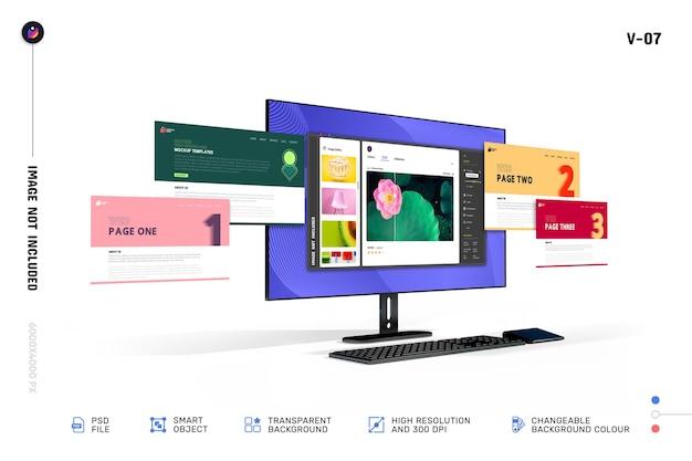新しいモダンな3dwebショーケースデスクトップコンピューター画面のモックアップ