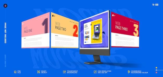 Новый современный 3d-макет экрана настольного компьютера