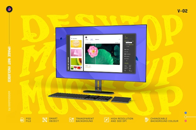 New modern desktop screen mockup