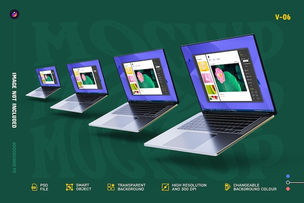 새로운 현대 고품질 편집 가능한 노트북 화면 모형