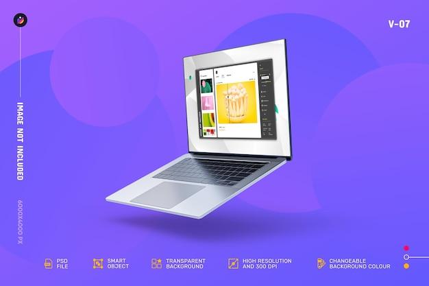 新しいモダンなノートパソコンの画面のモックアップ