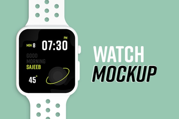 New modern smart watch screen mockup