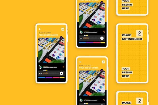 新しいモダンなスマートフォン画面アプリのプロモーションモックアップ