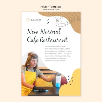 New normal cafe ad poster template