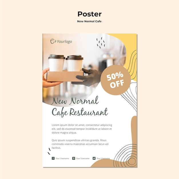 New normal cafe poster template