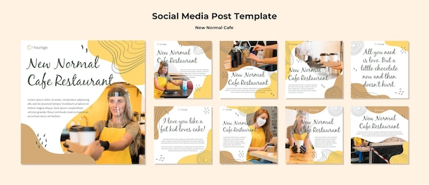 New normal cafe social media post template