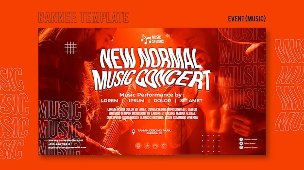 New normal music concert banner template