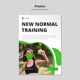 New normal poster template with photo